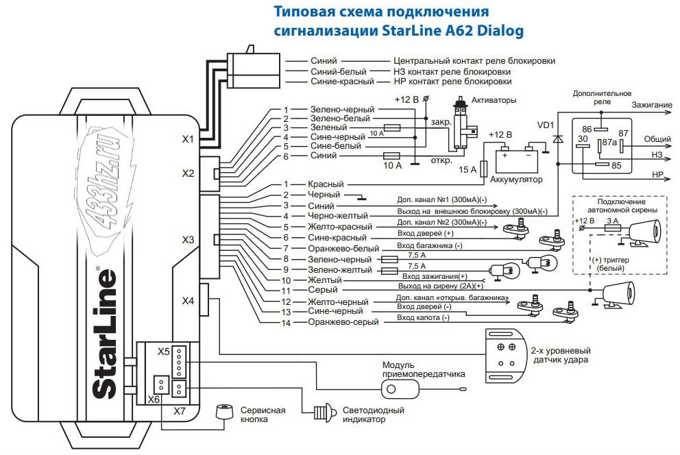 Проводка, комплект проводов StarLine А6/A62 - Автосигнализация, Мотосигнализация, Брелоки, Пейджеры, StarLine, Иммобилайзеры